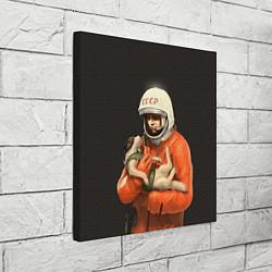 Холст квадратный Гагарин с лайкой цвета 3D-принт — фото 2