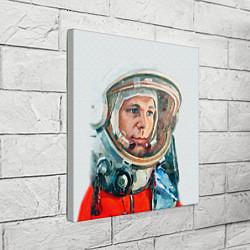 Холст квадратный Гагарин в полете цвета 3D — фото 2