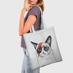 Сумка-шопер David Bowie: Grumpy cat цвета 3D-принт — фото 2