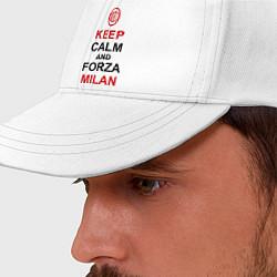 Бейсболка Keep Calm & Forza Milan цвета белый — фото 2