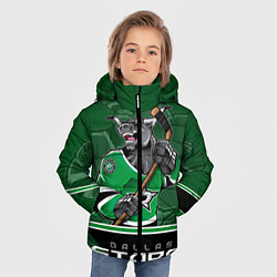 Детская зимняя куртка для мальчика с принтом Dallas Stars, цвет: 3D-черный, артикул: 10106986406063 — фото 2