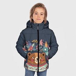 Куртка зимняя для мальчика Осенний медведь цвета 3D-черный — фото 2