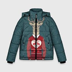 Куртка зимняя для мальчика Олень хипстер цвета 3D-черный — фото 1
