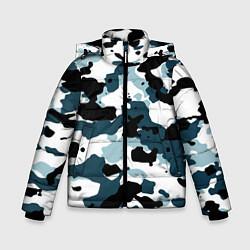 Куртка зимняя для мальчика Камуфляж зимний: пятна цвета 3D-черный — фото 1