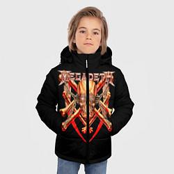 Детская зимняя куртка для мальчика с принтом Megadeth: Gold Skull, цвет: 3D-черный, артикул: 10118375606063 — фото 2
