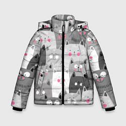 Куртка зимняя для мальчика Котейки 2 цвета 3D-черный — фото 1