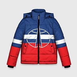 Куртка зимняя для мальчика Флаг космический войск РФ цвета 3D-черный — фото 1