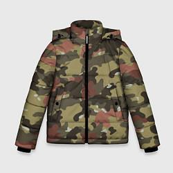 Куртка зимняя для мальчика Камуфляж: коричневый/хаки цвета 3D-черный — фото 1
