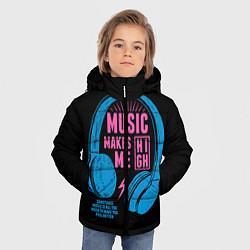 Детская зимняя куртка для мальчика с принтом Музыка делает меня лучше, цвет: 3D-черный, артикул: 10126693406063 — фото 2