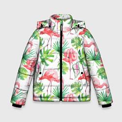Куртка зимняя для мальчика Фламинго в тропиках цвета 3D-черный — фото 1