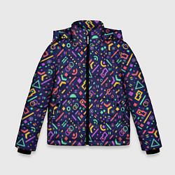 Куртка зимняя для мальчика Геометрия цвета 3D-черный — фото 1