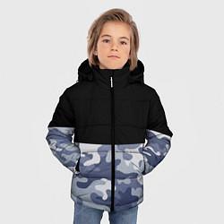 Куртка зимняя для мальчика Камуфляж: черный/голубой цвета 3D-черный — фото 2