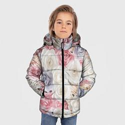 Куртка зимняя для мальчика Букет из роз цвета 3D-черный — фото 2