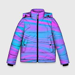 Детская зимняя куртка для мальчика с принтом Глянцевые линии, цвет: 3D-черный, артикул: 10136600906063 — фото 1