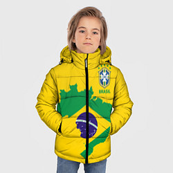 Детская зимняя куртка для мальчика с принтом Сборная Бразилии: желтая, цвет: 3D-черный, артикул: 10143140306063 — фото 2