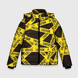 Детская зимняя куртка для мальчика с принтом Police Caution, цвет: 3D-черный, артикул: 10149339106063 — фото 1
