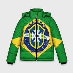 Детская зимняя куртка для мальчика с принтом CBF Brazil, цвет: 3D-черный, артикул: 10153088306063 — фото 1