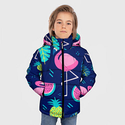 Куртка зимняя для мальчика Фруктовый фламинго цвета 3D-черный — фото 2