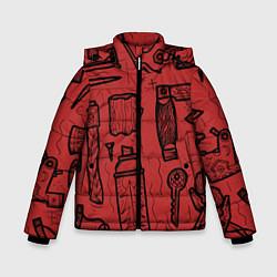 Детская зимняя куртка для мальчика с принтом Инструменты мужика, цвет: 3D-черный, артикул: 10158125706063 — фото 1