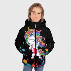 Куртка зимняя для мальчика Малыш-единорог цвета 3D-черный — фото 2