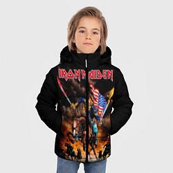 Детская зимняя куртка для мальчика с принтом Iron Maiden: USA Warriors, цвет: 3D-черный, артикул: 10173208506063 — фото 2