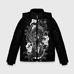 Детская зимняя куртка для мальчика с принтом Японский дракон, цвет: 3D-черный, артикул: 10173336906063 — фото 1