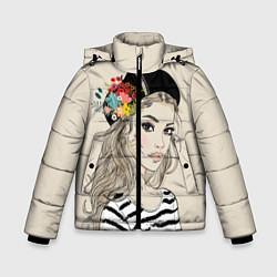 Куртка зимняя для мальчика Парижанка в берете цвета 3D-черный — фото 1