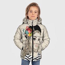 Детская зимняя куртка для мальчика с принтом Парижанка в берете, цвет: 3D-черный, артикул: 10180357506063 — фото 2