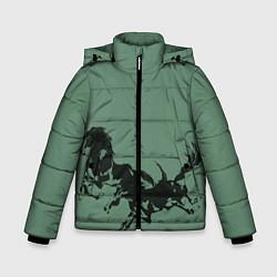 Куртка зимняя для мальчика Черные кони цвета 3D-черный — фото 1