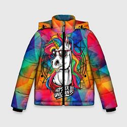 Куртка зимняя для мальчика Единорог хипстер цвета 3D-черный — фото 1
