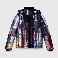 Куртка зимняя для мальчика Ночной Токио цвета 3D-черный — фото 1