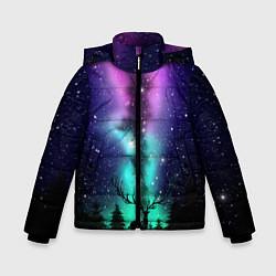 Куртка зимняя для мальчика Силуэт оленя северное сияние цвета 3D-черный — фото 1