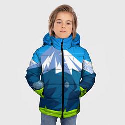 Куртка зимняя для мальчика Горы пейзаж природа вектор цвета 3D-черный — фото 2