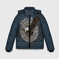 Куртка зимняя для мальчика Летящий орёл цвета 3D-черный — фото 1