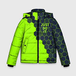 Куртка зимняя для мальчика JUST DO IT цвета 3D-черный — фото 1