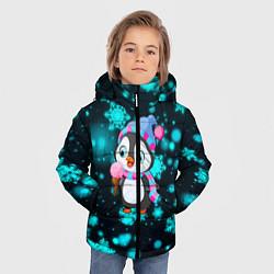 Куртка зимняя для мальчика Новогодний пингвин цвета 3D-черный — фото 2