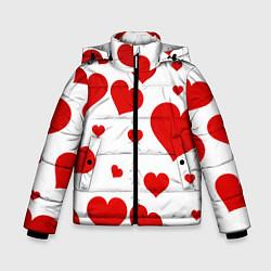 Куртка зимняя для мальчика Сердечки цвета 3D-черный — фото 1