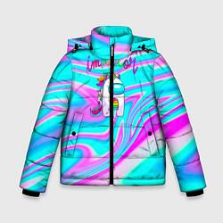 Куртка зимняя для мальчика Impostor Unicorn цвета 3D-черный — фото 1