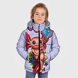 Куртка зимняя для мальчика Магический аксолотль цвета 3D-черный — фото 2