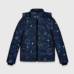 Куртка зимняя для мальчика Созвездия цвета 3D-черный — фото 1
