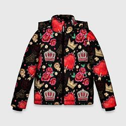 Куртка зимняя для мальчика Корона и розы цвета 3D-черный — фото 1