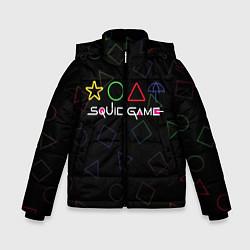 Куртка зимняя для мальчика ИГРА В КАЛЬМАРА ФИГУРЫ УЗОР цвета 3D-черный — фото 1
