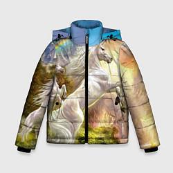 Куртка зимняя для мальчика Радужный единорог цвета 3D-черный — фото 1