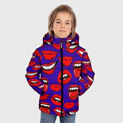 Куртка зимняя для мальчика Губы цвета 3D-черный — фото 2