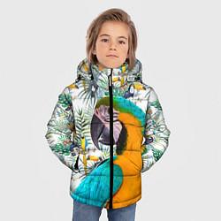 Детская зимняя куртка для мальчика с принтом Летний попугай, цвет: 3D-черный, артикул: 10065274106063 — фото 2