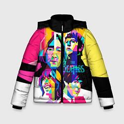 Куртка зимняя для мальчика The Beatles: Poly-art цвета 3D-черный — фото 1