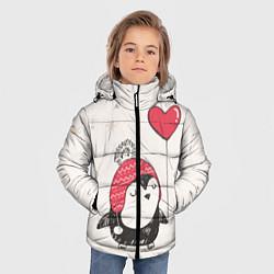 Детская зимняя куртка для мальчика с принтом Влюбленный пингвин, цвет: 3D-черный, артикул: 10076966606063 — фото 2