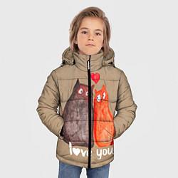 Куртка зимняя для мальчика Влюбленные котики цвета 3D-черный — фото 2