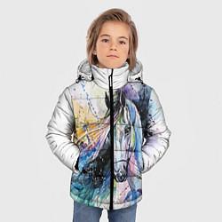 Куртка зимняя для мальчика Акварельная лошадь цвета 3D-черный — фото 2