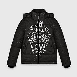 Куртка зимняя для мальчика Любовь надпись цвета 3D-черный — фото 1